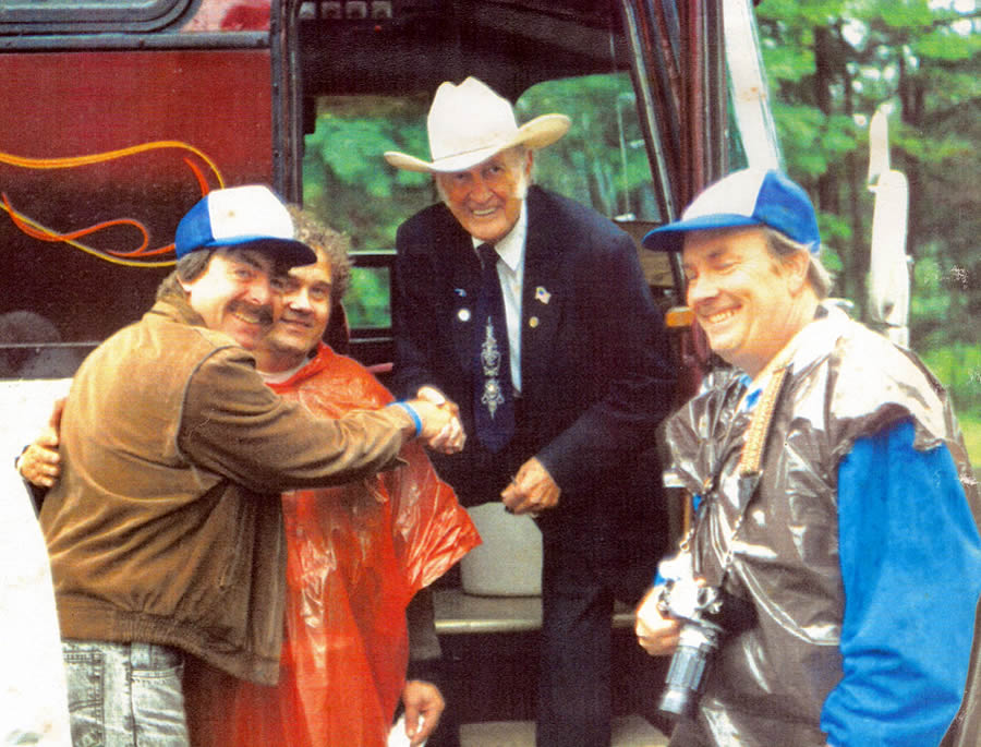 Bill Monroe steps on Cozy Cove Grounds July 28, 1991